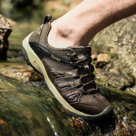 户外登山潮流运动鞋男防滑夏季真皮透气溯溪鞋网面休闲徒步旅游鞋