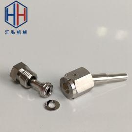 高纯不锈钢1/4焊接接头VCR公母螺纹长焊管