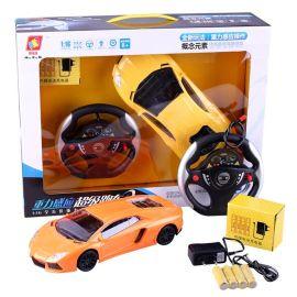 地摊热卖 新款电动玩具兰博基尼带灯重力方向盘遥控车 儿童玩具车
