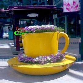 新款玻璃钢茶杯造型室外观赏花盆