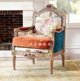美式新古典实木雕花高档花布艺老虎椅椅子影楼会所别墅书房休闲椅