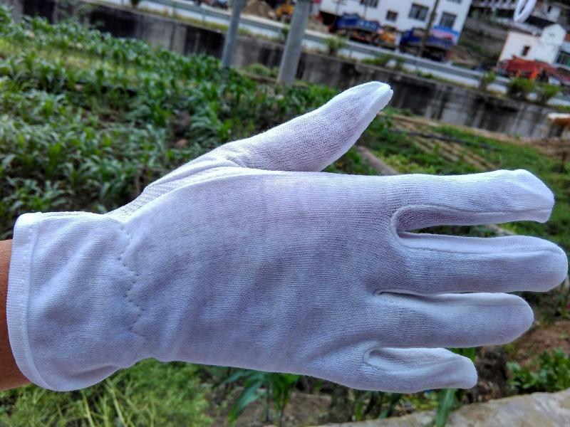 100%纯棉棉毛止滑点塑手套