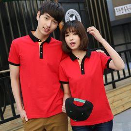 韓版學生聚會班服定制LOGO夏季情侶裝純色男女短袖T恤翻領POLO衫