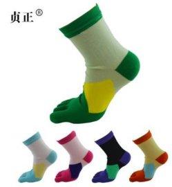 贞正五指袜女纯棉四季可爱甜美拼色中厚中筒防臭吸汗透气分趾袜