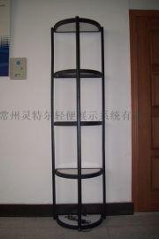 特惠铝合金落地展示柜精品折叠展柱宣传展柱展会圆柱展架带射灯