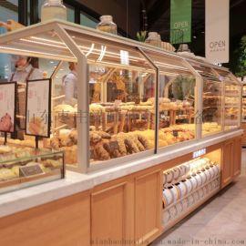 山东宏发展柜实木面包展示柜-面包中岛柜