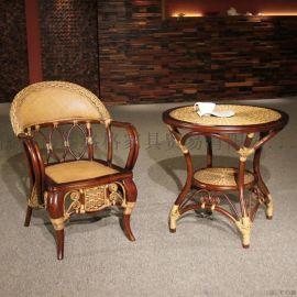 藤格格 3005B 厂家批发书房藤椅子纯实木书椅藤木休闲椅扶手靠背椅中式藤家具