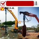 勾機鑽土機工作原理 挖掘機螺旋鑽土機
