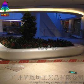 楼盘广场商场大堂中心休闲室花钵 几何造型花盆花钵休闲座椅雕塑 玻璃钢雕塑