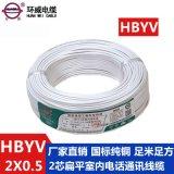 環威  線廠家批發HBYV0.5平方2芯扁平白色室內  線  1捲起訂