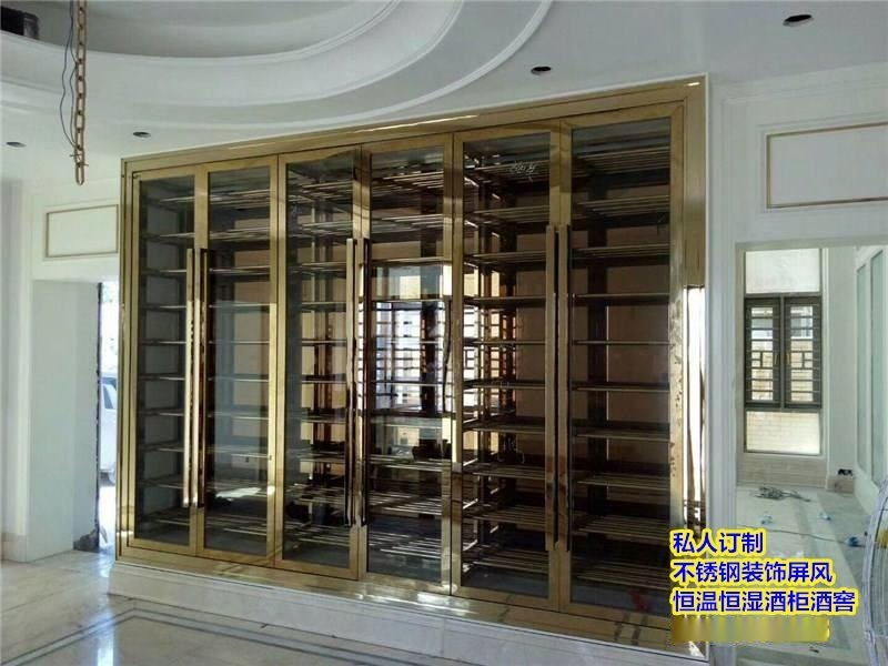 新款不锈钢酒柜 酒店别墅红酒架 展示架隔厅柜定制