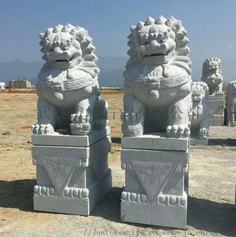 招财汉白玉石狮子 武汉竣峰2米石狮子 汉白玉石狮子