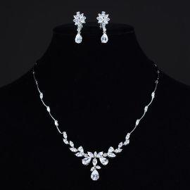 时尚奢华新娘饰品真白金微镶AAA锆石女士耳钉项链套装天猫货源