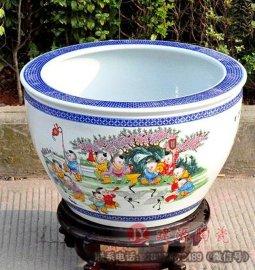 大鱼缸批发 荷花养鱼缸图片 定做陶瓷缸厂家