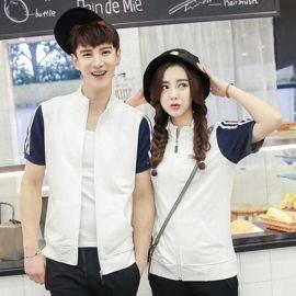 定制韩版新款短袖立领运动卫衣外套男女款情侣装卫衣班服定做logo