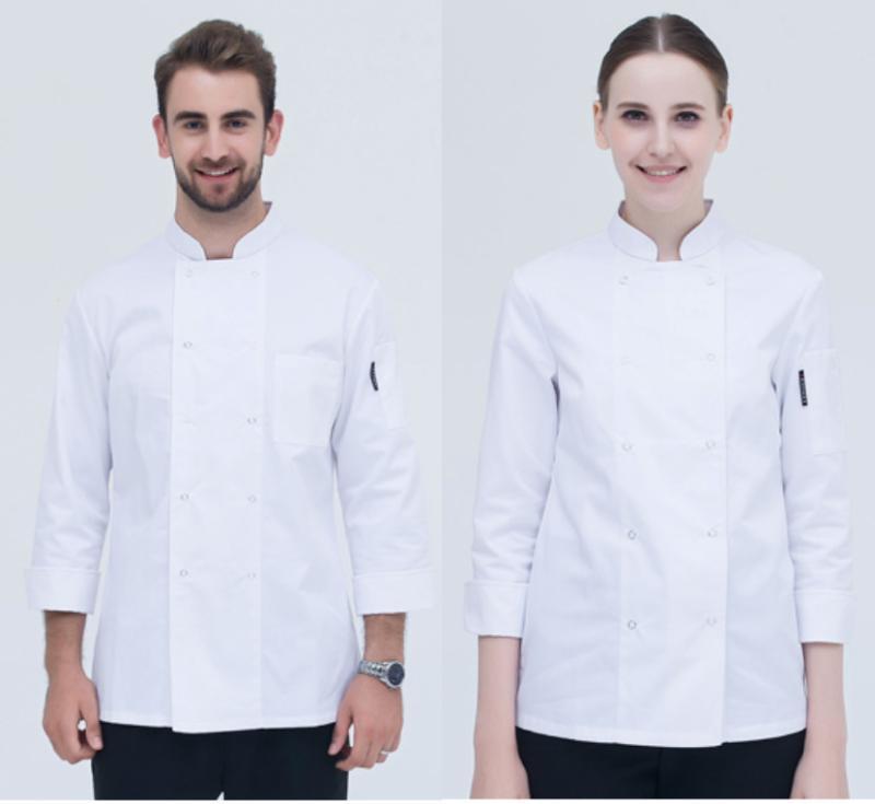 春秋長袖男女廚師服 麪點師廚房服裝蛋糕烘焙西點師工作服定做