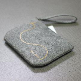 19新款女士钱包 时尚简约毛毡拉链跨境**手机包收纳包工厂定制