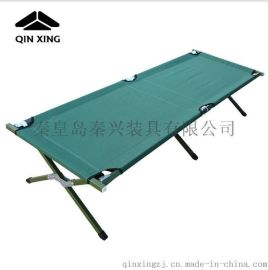 秦兴批发单人简易折叠床 便携式行军床午休床 野外露营行军床军绿