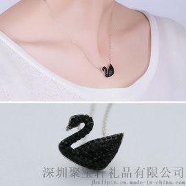 S925纯银黑天鹅吊坠套链 时尚 爆款 简约 精致 女款项链 珠宝礼品银饰品