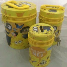 厂家定制圆形拉链三合一套装铁盒存钱罐置物盒