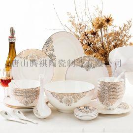 28头骨瓷餐具套装 骨瓷碗盘碟套装 金粉佳人