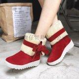 加绒保暖棉鞋学生平底蝴蝶结短筒靴子