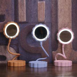 月饼台灯led多功能化妆镜补光灯卧室学生USB充电