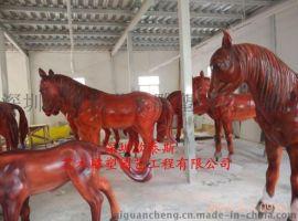 厂家定制玻璃钢大型动物仿真大红汗血宝马
