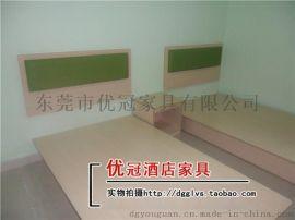 广州优冠厂家直销定做酒店家具现代简约板式实木床 单人双人床宾馆家具床