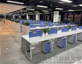 深圳开放式职员电脑桌 四4人钢架办公桌6人员工桌