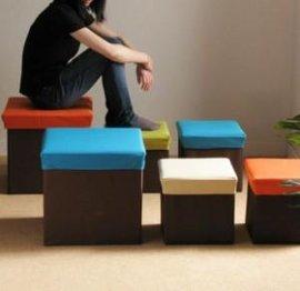 多彩正方形折叠收纳凳(B02)