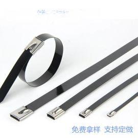 4.6*300喷塑不锈钢扎带包塑彩色304 201船用扎带金属自锁钢带捆绑