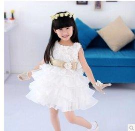 儿童婚纱礼服裙 蓬蓬裙夏童装 **公主裙 **花童礼服欧根纱裙