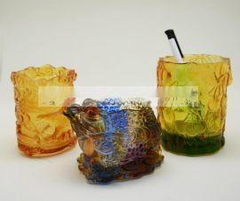 郑州琉璃工艺品定制 ,琉璃笔筒摆件礼品, 办公摆件用品制作