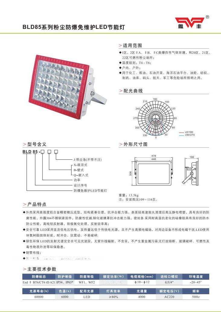 BLD85(CCD97)系列粉塵防爆免維護IED節能燈