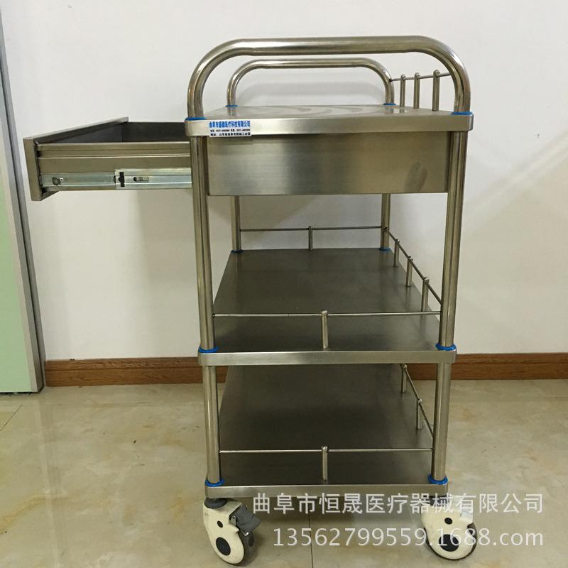 不锈钢治疗车 带抽屉 扇形器械台车 双层三层手术推车医院用