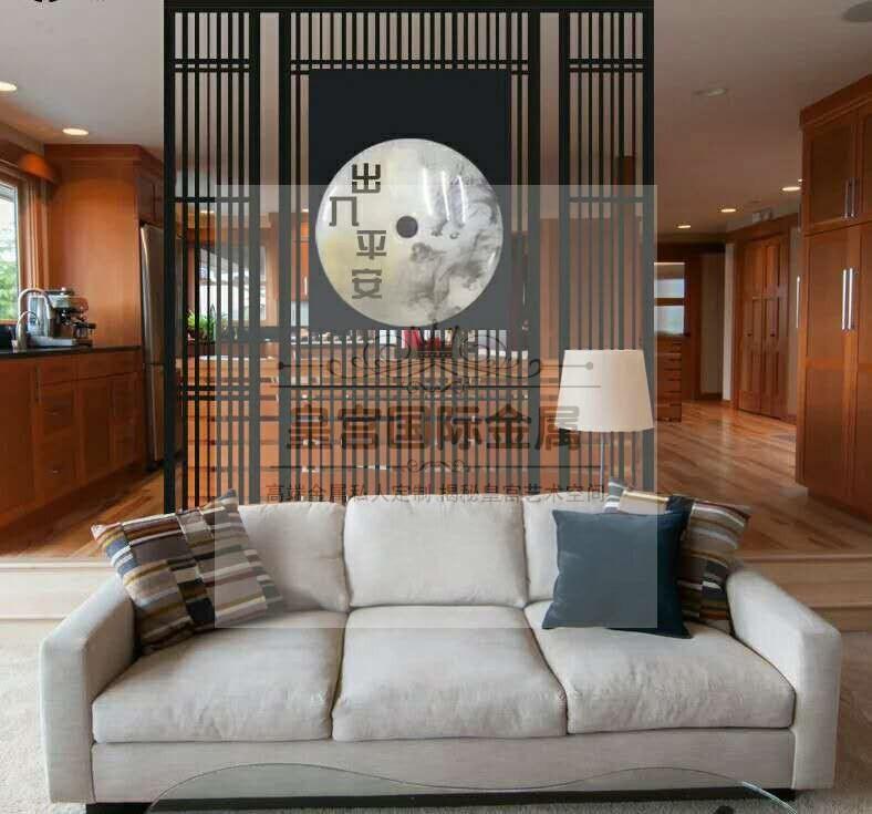 不鏽鋼屏風隔斷現代簡約中式玫瑰金玄關鏤空雕花金屬屏風定製廠家