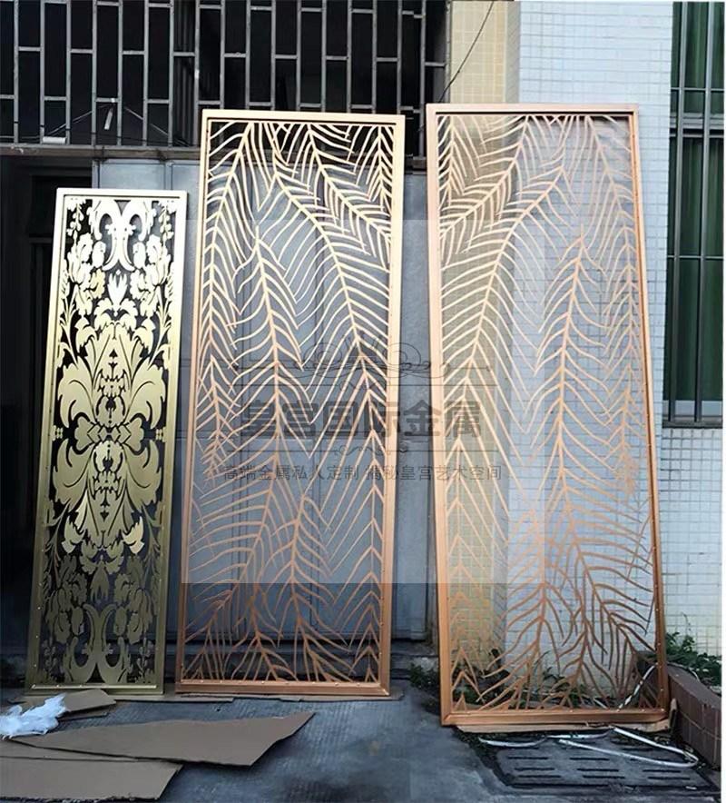不锈钢屏风隔断不锈钢金属创意隔断客厅餐厅玄关美式镂空隔断雕花