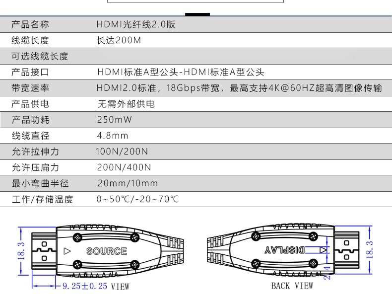 HDMI光纖穿管線參數