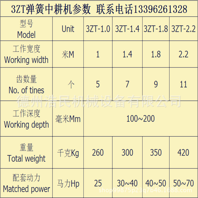 3ZT彈簧中耕機參數