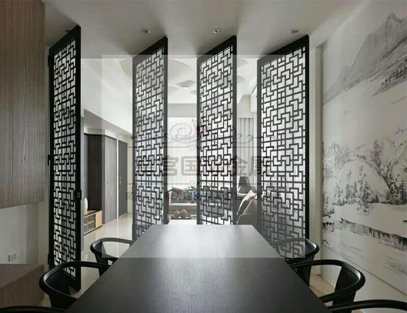 不锈钢屏风隔断现代简约中式玫瑰金玄关镂空雕花金属屏风定制厂家