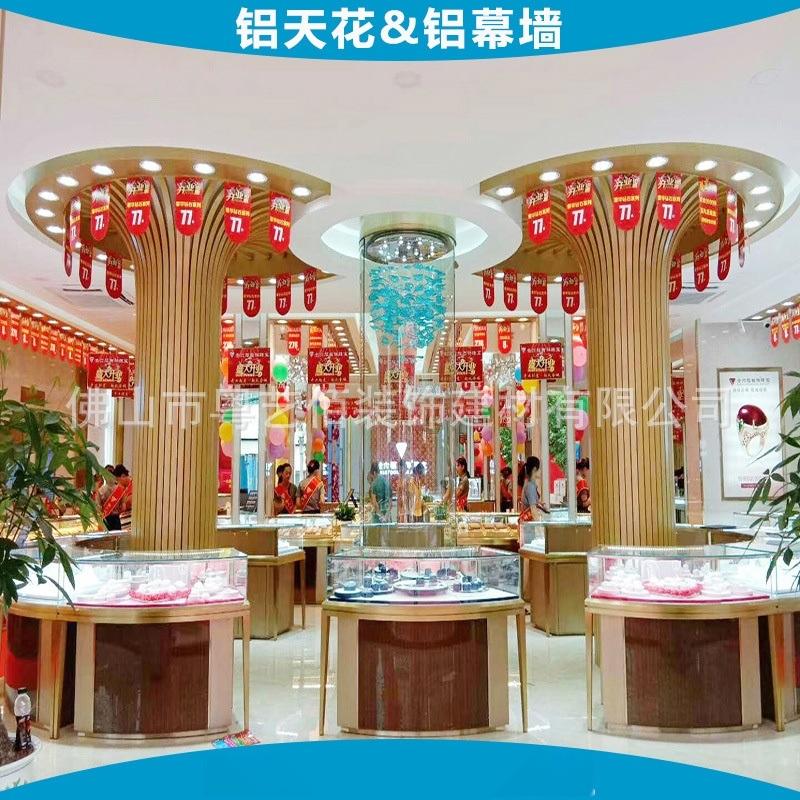 铝方通-珠宝店柱子造型弧形铝方通 (2)