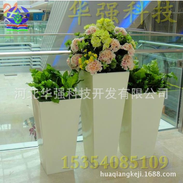 户外玻璃纤维花盆时尚简约玻璃钢长方形花盆雕塑厂