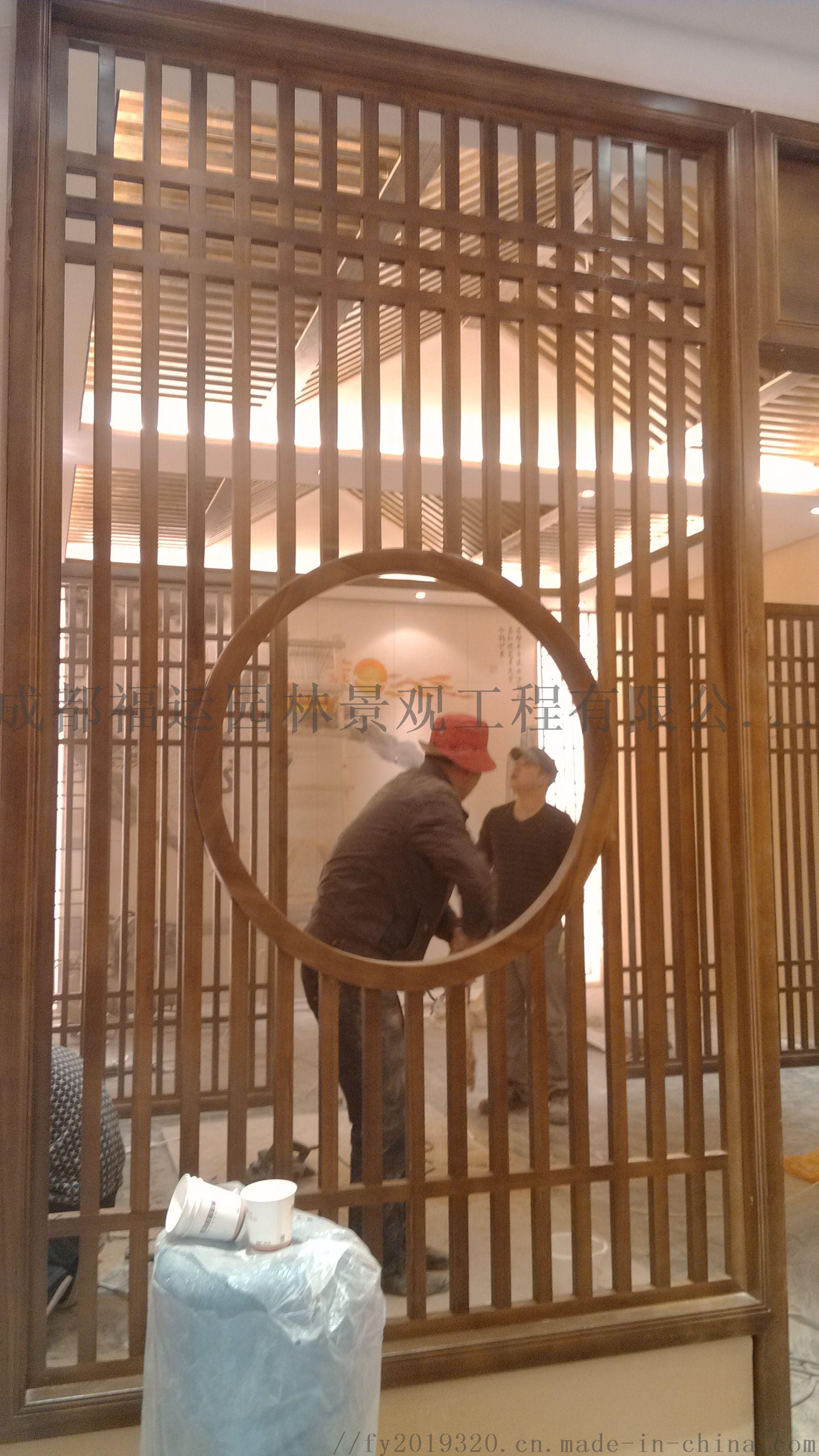 四川仿古门窗博古架厂家实木雕花挂件茶楼装修124532575