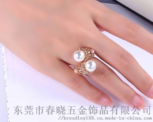 女士款珍珠开口戒指定制/复古流行珍珠开口戒指110179495