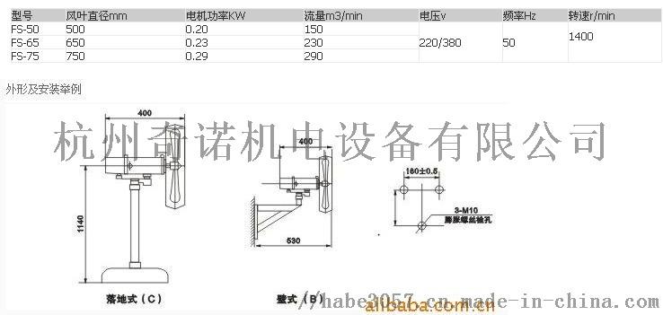 供应500MM落地式工业摇头电风扇97386455