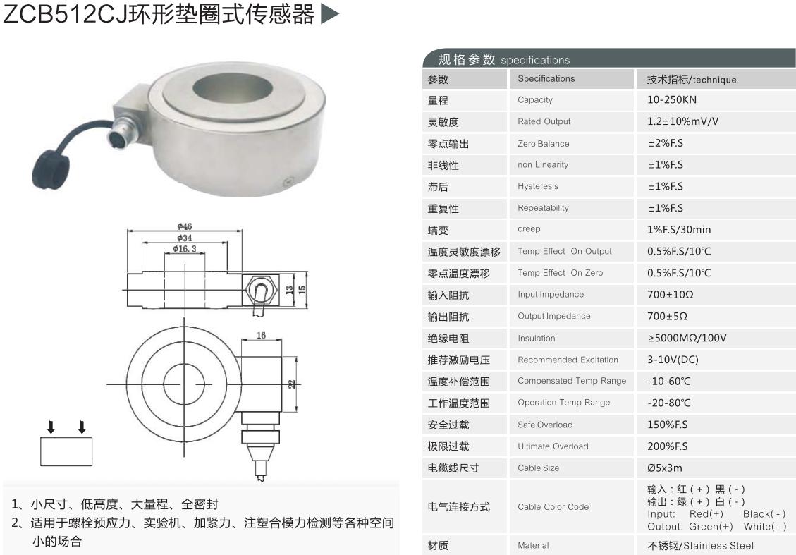 中空力传感器 空心力传感器 生产厂家--卓扬测控72815232