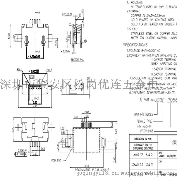 MICRO USB 5P AB型 沉板1.01.6无卷边平口 micro方口两脚沉板783597625