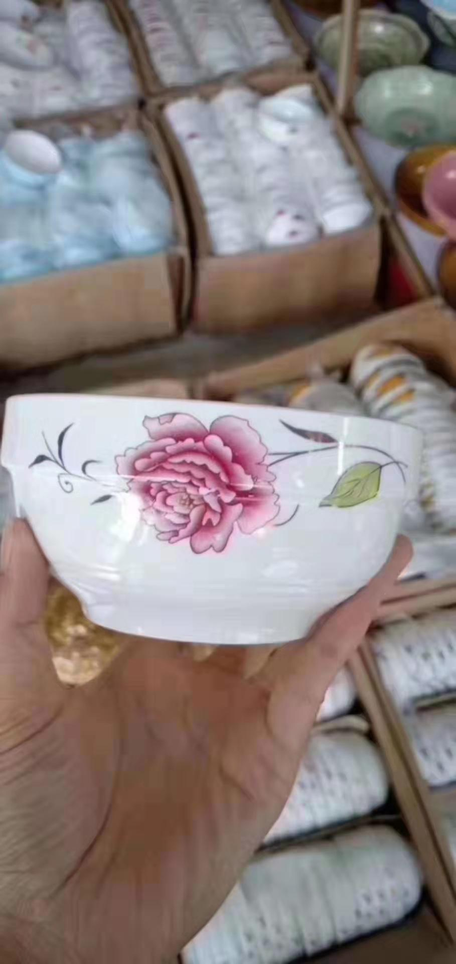 跑江湖擺地攤彩瓷花瓷白瓷食具2元模式價格
