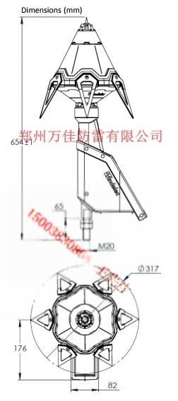 易敵雷避雷針,易敵雷S6.60主動式提前放電避雷針817587962